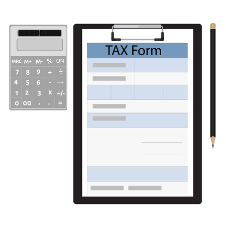 income: Vector illustration black clipboard with income tax form, pencil and calculator. Federal income tax form. Tax return