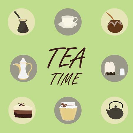 tea: Tea flat icons. Cup of tea honey calabash and bombilla teapot coffeepot cake tea bag. Tea time