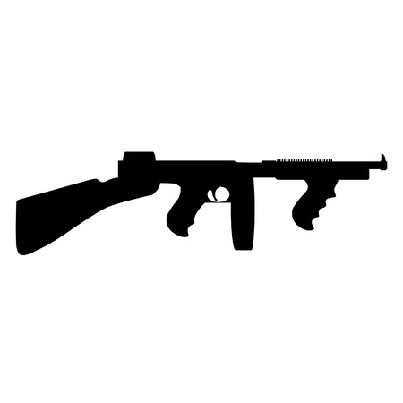 tommy: Black silhouette of automatic weapon tommy gun. Thompson submachine gun vector isolated.