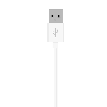 connector: Vector illustration white usb cord, cable, connector symbol