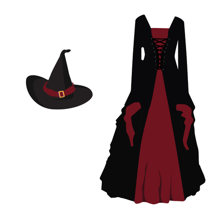 Vector illustration of a cartoon black witch hat with red ribbon and buckle. Black gothic witch dress. Halloween costume witch