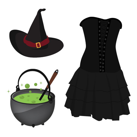 ebullition: Halloween vector icon set witch hat and corset dress, boiling kettle with green poison Illustration