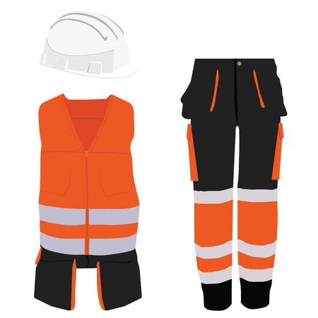 workwear: Orange safety clothing vector icon set with safety vest, pants and  hardhat helmet. Safety equipment. Protective workwear