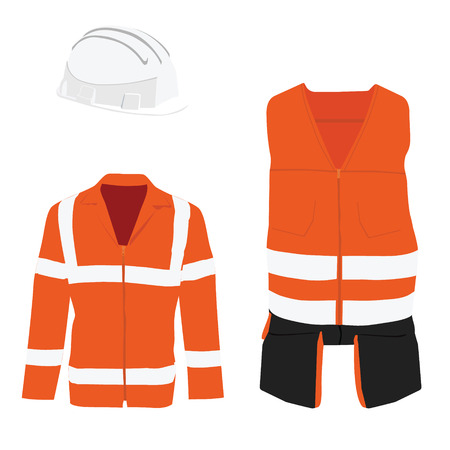 safety at work: Orange safety jacket. Worker clothing. Safety clothing. Protective worker jacket with reflective stripes, White hard hat helmet Illustration