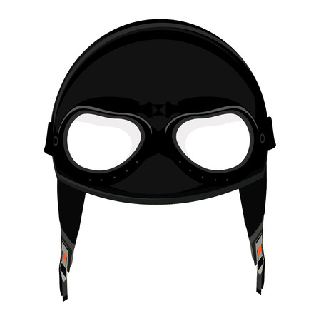 Vector illustration black retro aviator pilot helmet with goggles