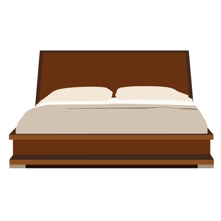 Vector illustration of wooden double bed with two pillow and blanket. Bedroom furniture.