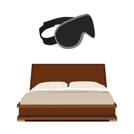 headboard: Vector illustration of wooden double bed with two pillow and blanket. Grey sleeping mask. Bedroom furniture. Illustration