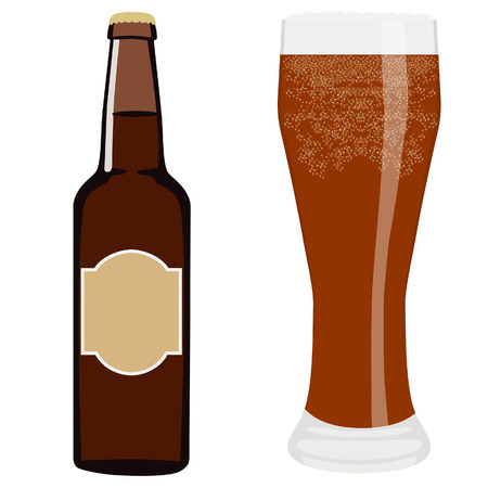 dark beer: Vector illustration of brown beer bottle with lable or sticker and full beer glass with cold dark beer.