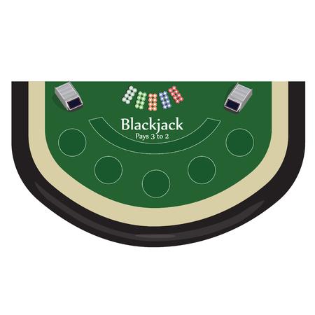 blackjack: Vector illustration blackjack table with chips top view. Casino gambling game