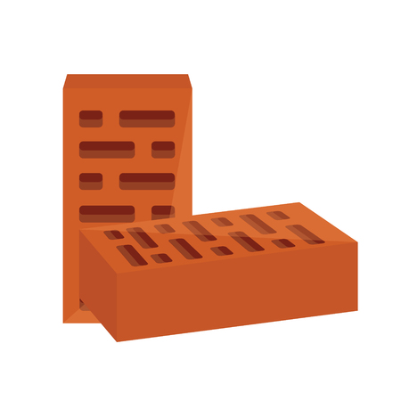 stone mason: Vector illustration two red brick block  for building. Masonry equipment