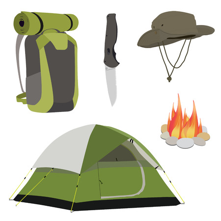 exploration: Camping equipment green camping tent, campfire with stones, travel backpack and exploration hat, knife vector illustration. Camping gear icon set