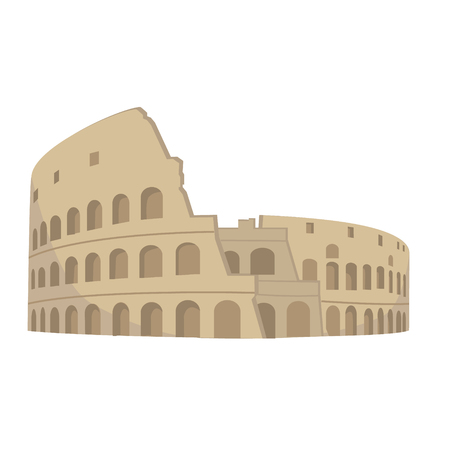 Colosseum in Rome on a white background. Italy Landmark architecture vector illustration.