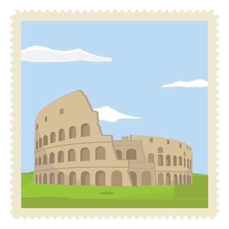 Vector illustration vintage post stamp with colosseum in Rome. Travel icon. Italy Landmark architecture vector illustration. Stock Illustratie