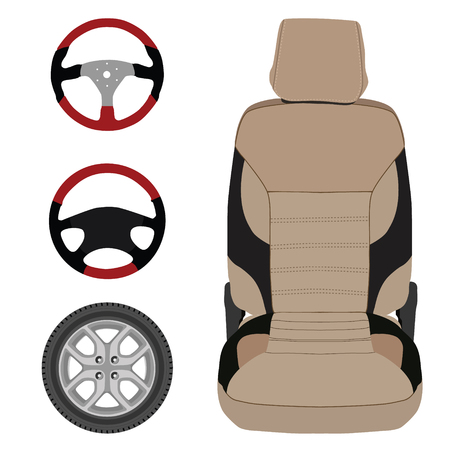 si�ge voiture: Vector icon set collection car parts.  Sport steering wheel, car seat and wheel. Auto details