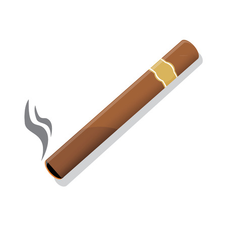 Vector illustration of a luxury Havana cigar with label. Cigar. An expensive cigar. Illustration