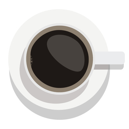 Vector illustration white cup of black coffee top view.