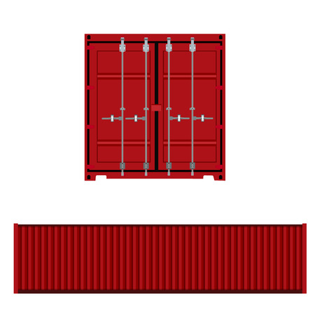 intermodal: Vector illustration of realistic red cargo container front or back and side view. Container ship icon. Global transportation.