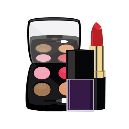cosmetics collection: Eyeshadows, red lipstick and purple nail polish vector illustration. Make up and cosmetics collection