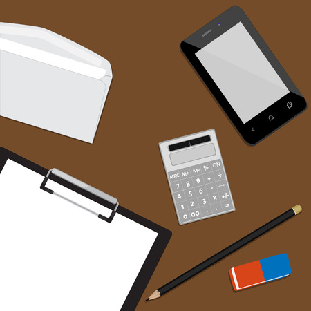 smartphone business: Top view of working place with elements on wooden table background pencil, eraser, smartphone, calculator and envelope. Business desktop. Workplace concept Illustration