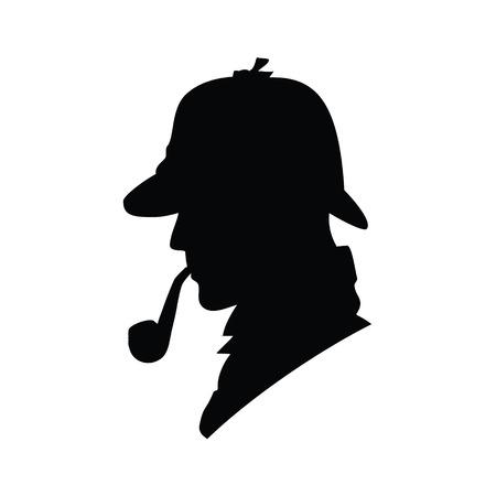 探偵ベクトル プロフィール アイコン、ロゴ。探偵のベクトル シルエット。エージェントのスパイ、秘密と神秘的な帽子の男人間の検査官