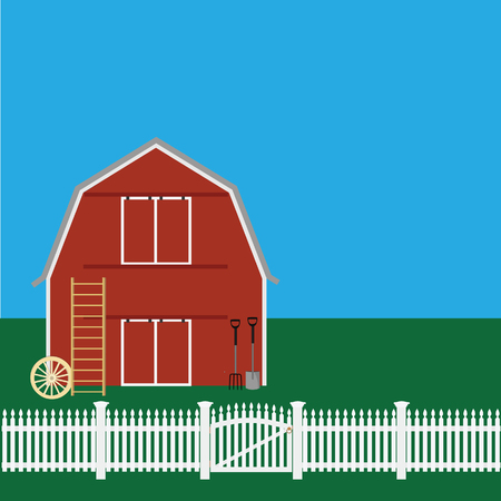 wheel house: raster illustration of farm countryside. Rural landscape. Red barn house, shovel and rake, wheel, wooden stairs Stock Photo