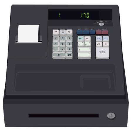 efectivo: caja registradora, icono de la caja registradora, cajero automático, aislado en blanco, la trama de la caja registradora