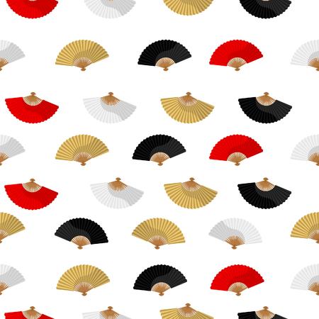 red fan: Japanese folding fan pattern  white golden black red
