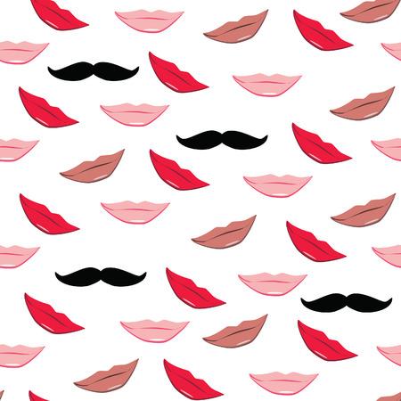 beige lips: Lips and mustache raster  pattern. Red, pink, beige lips kiss and black mustache . Lips background, print Stock Photo