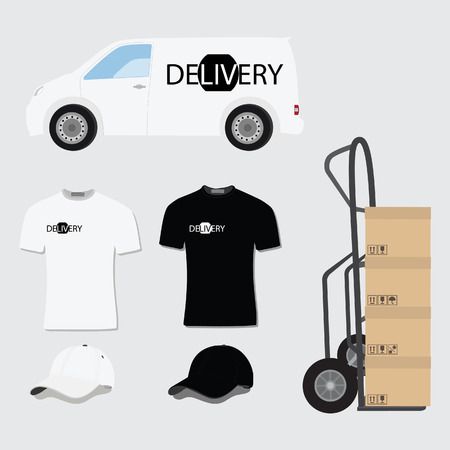 hand truck: Delivery company design template. Delivery van,t-shirt, baseball cap and hand truck with package boxes raster illustration on grey background. Delivery icon set Stock Photo