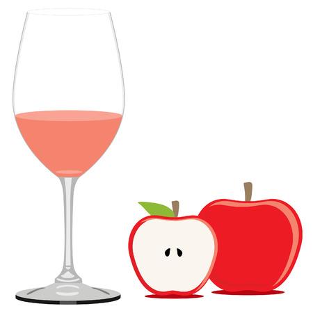 apple juice: Red apple juice raster illustration. Fruit juice. Apple juice glass