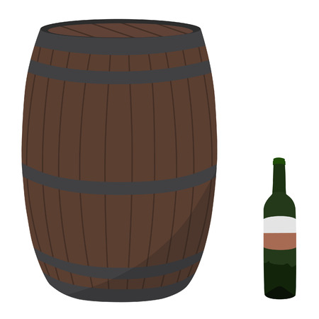 wine cellar: Wine barrel and bottle raster illustration. Barrel from oak. Wine cellar. Wooden casks with alcohol