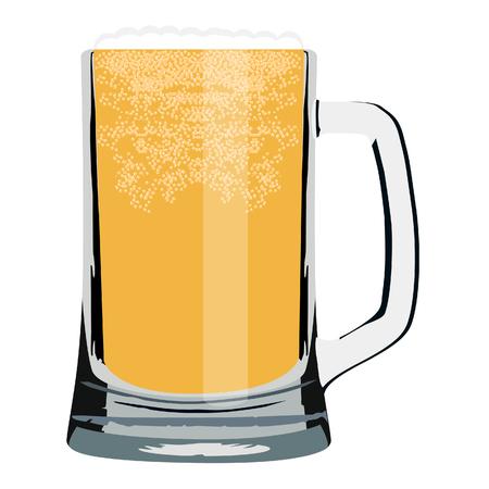 pilsner beer glass: raster illustration of beer mug full of cold beer. Light beer. Glass of beer