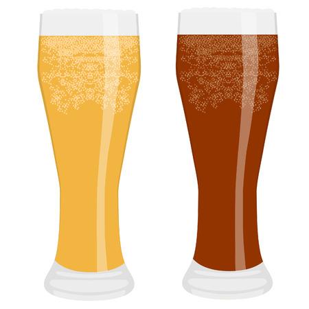 dark lager: raster illustration of two frosty beer glasses. Full beer glass. Light and dark beer. Glass of cold beer.