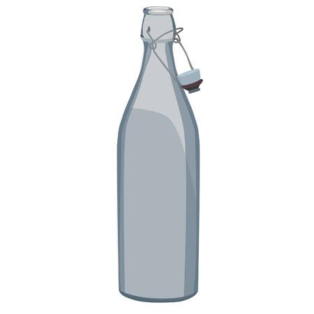 distill: Grey glass bottle isolated on white raster, water bottle, milk bottle