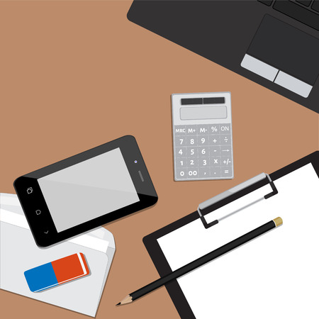 pencil eraser: Top view of working place with elements on wooden table background pencil, eraser, smartphone, calculator, envelope and laptop. Workplace concept
