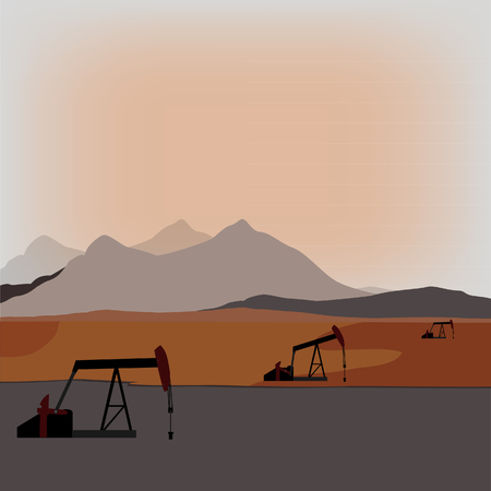 crude: Silhouette of working oil pump on sunset mountain background or landscape. Pump rocking. Crude oil production. Stock Photo