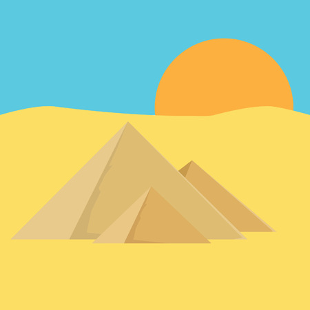 giza: raster illustration of eqypt pyramids with sky, sun, sand. Pyramids giza. The flames of sunset