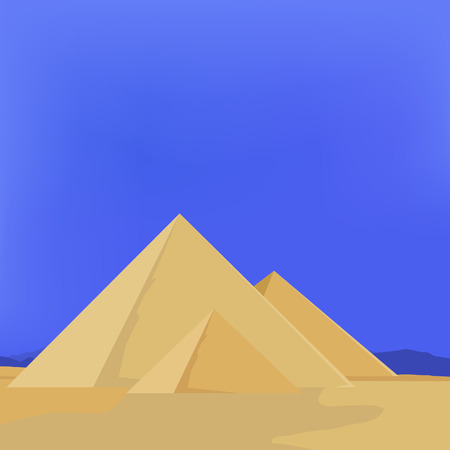 dunes: raster illustration of egypt pyramids with sky, sun, sand. Pyramids giza. The flames of sunset