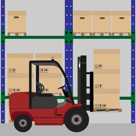 warehouse interior: Warehouse raster illustration. Car loader with carton boxes with shipping symbols. Storage design. Warehouse interior