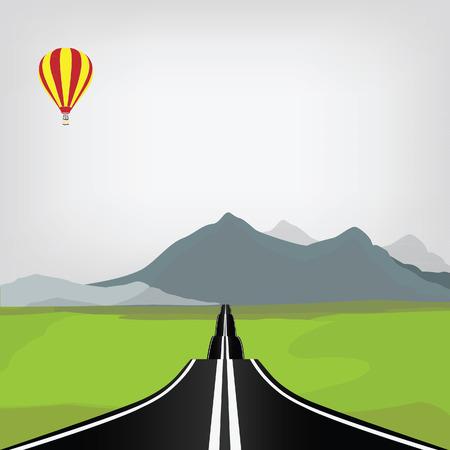 landscape road: Mountain road raster illustration. Mountain landscape with winding road. Mountain background. Summer road
