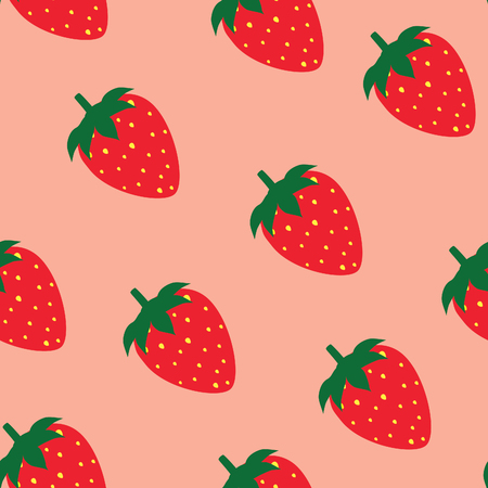Strawberry  pattern raster pink background, strawberry background Standard-Bild
