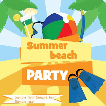 summer fun: Summer beach party poster raster illustration. Beach ball, diving equipment, cocktail and palm tree. Summer fun