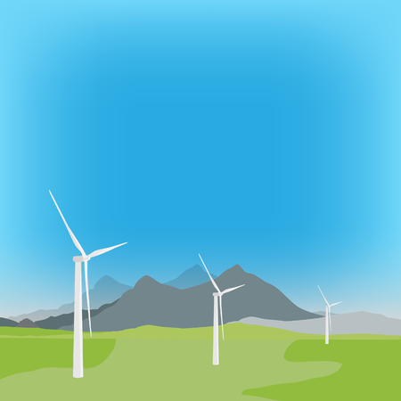 converter: raster illustration of wind turbine in background with field and mountain landscape. Wind power, wind energy Stock Photo