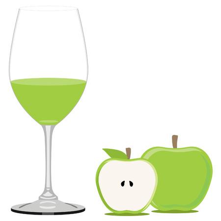 jugo de frutas: Green apple juice raster illustration. Fruit juice. Apple juice glass