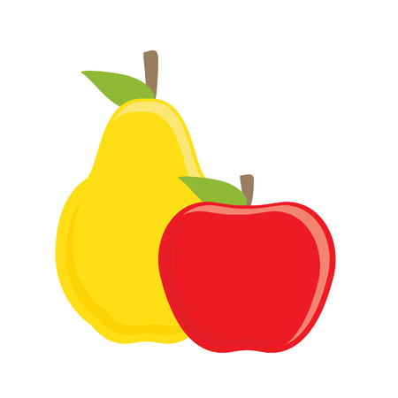 red apple: raster illustration red apple and yellow pear. Fruit icon. Healthy food