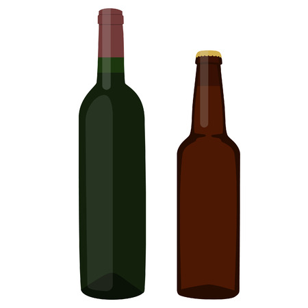 dark beer: Wine bottle and brown beer bottle raster illustration. Bottles with alcohol. Red wine and dark beer