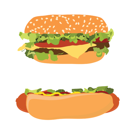 fat dog: Hotdog and burger raster set, hamburger, cheeseburger, fast food Stock Photo