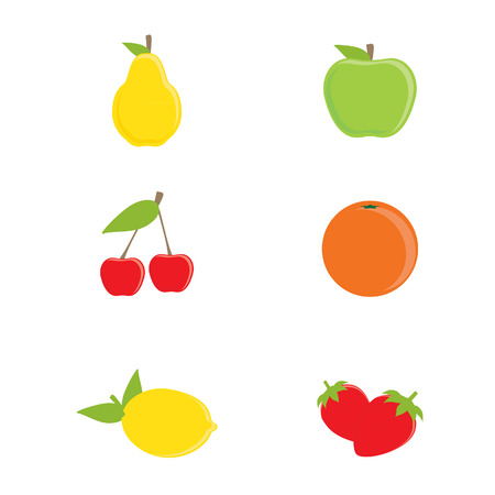 cherry: raster collection of fruit icons. Yellow pear, green apple, orange, lemon, cherry and strawberry