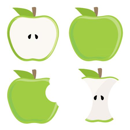 manzana: Todo verde manzana, media manzana, tocón manzana y mordido conjunto raster de manzana, comida sana, fruta fresca Foto de archivo