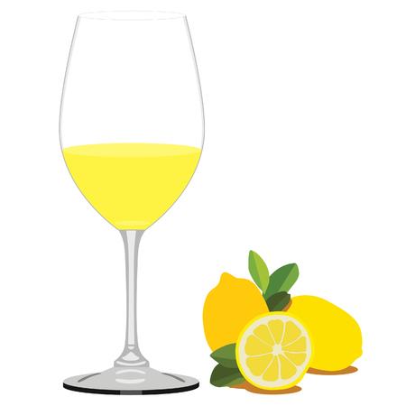 jus de citron: raster illustration of lemon juice and lemon fruit with leaves. Glass of juice. Fruit juice or drink